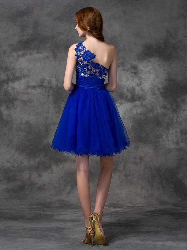 Amazing A-Line One-Shoulder Lace Sleeveless Short Satin Dress