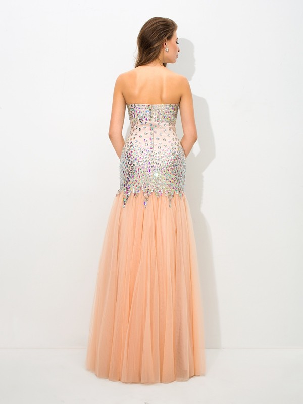 Amazing Mermaid Sweetheart Sleeveless Long Net Dress