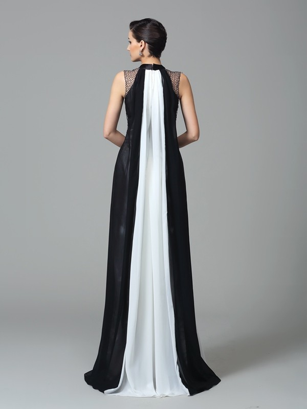 Glamorous Sheath High Neck Sleeveless Long Chiffon Dress