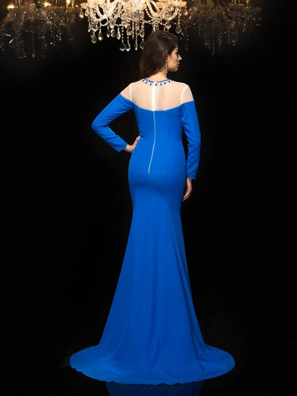 Glamorous Sheath Jewel Long Sleeves Long Chiffon Dress