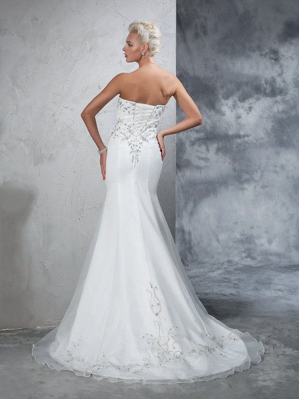 Glamorous Mermaid Sweetheart Sleeveless Long Satin Wedding Dress