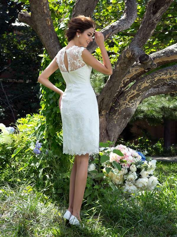 Glamorous A-Line Sheer Neck Sleeveless Short Satin Wedding Dress