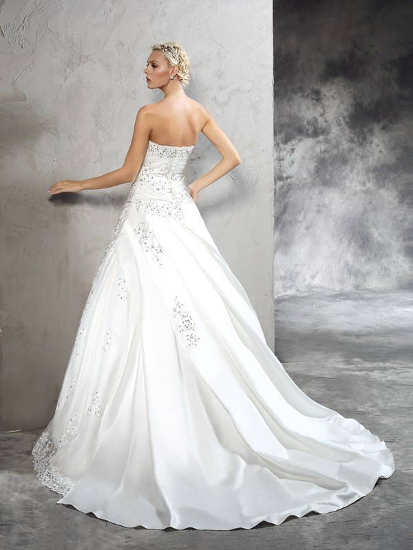 Glamorous Ball Gown Strapless Sleeveless Long Satin Wedding Dress
