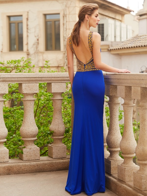 Discount Sheath Scoop Sleeveless Floor-Length Spandex Dress