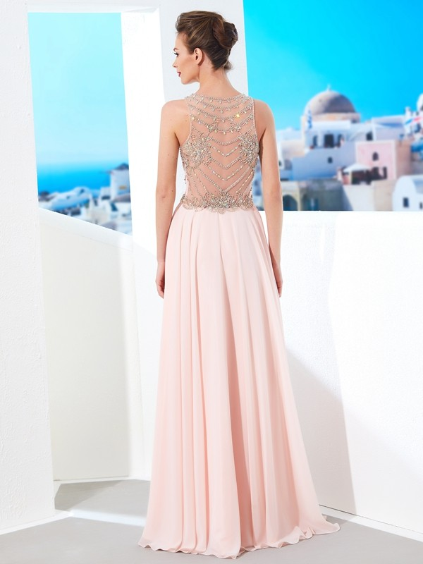 Affordable A-Line Scoop Sleeveless Chiffon Floor-length Dress