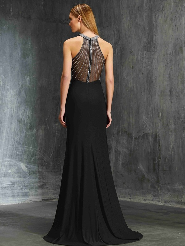 Stunning Sheath Jewel Sleeveless Spandex Sweep/Brush Train Dress