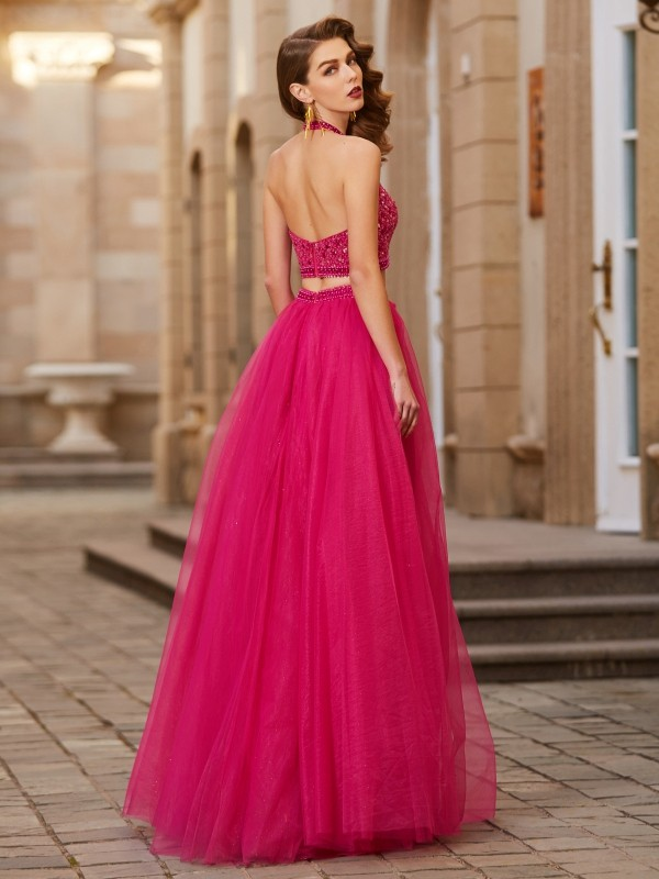 Affordable A-Line Halter Sleeveless Tulle Floor-Length Two Piece Dress