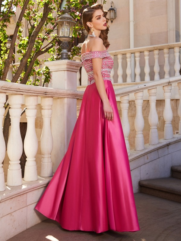 Affordable A-Line Off-the-Shoulder Sleeveless Satin Floor-Length Two Piece Dress