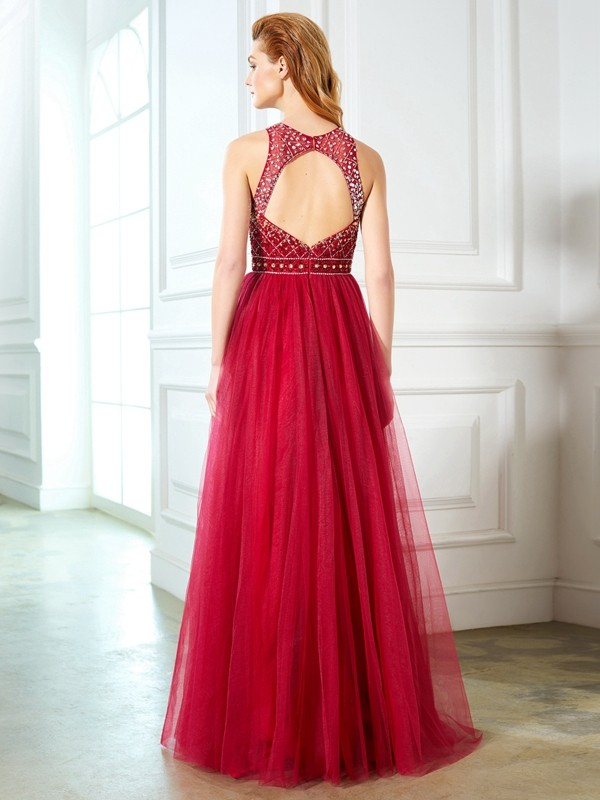 Affordable A-Line Scoop Sleeveless Floor-Length Tulle Dress