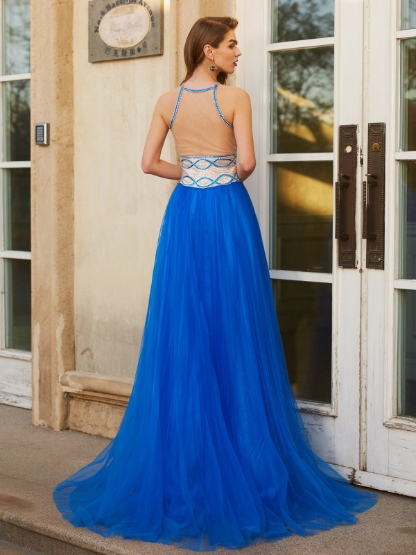 Affordable A-Line Jewel Sleeveless Floor-Length Tulle Dress