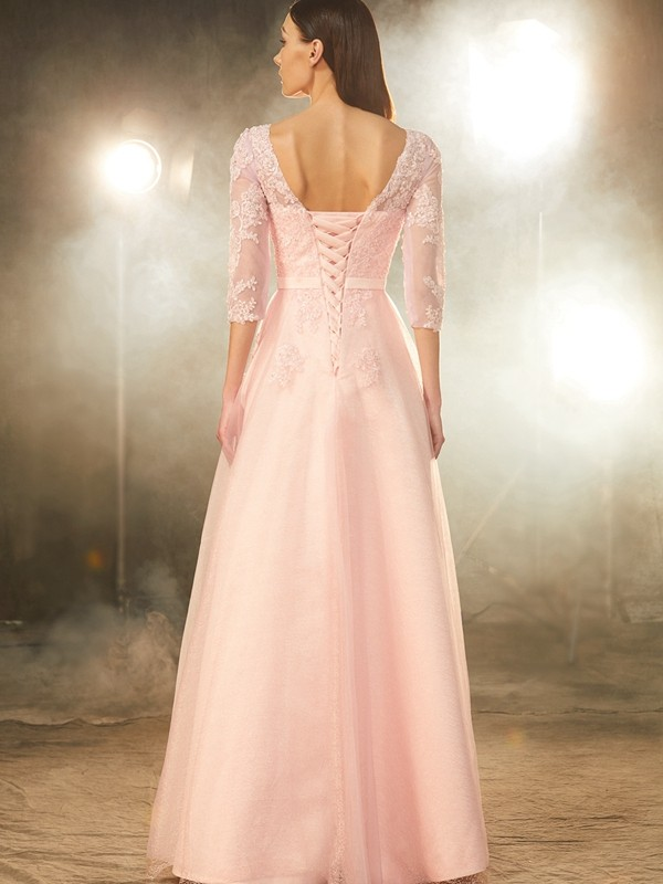 Affordable A-Line Bateau 1/2 Sleeves Floor-Length Tulle Dress