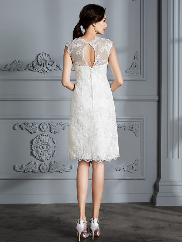Fancy A-Line Sleeveless Scoop Knee-Length Lace Satin Wedding Dress