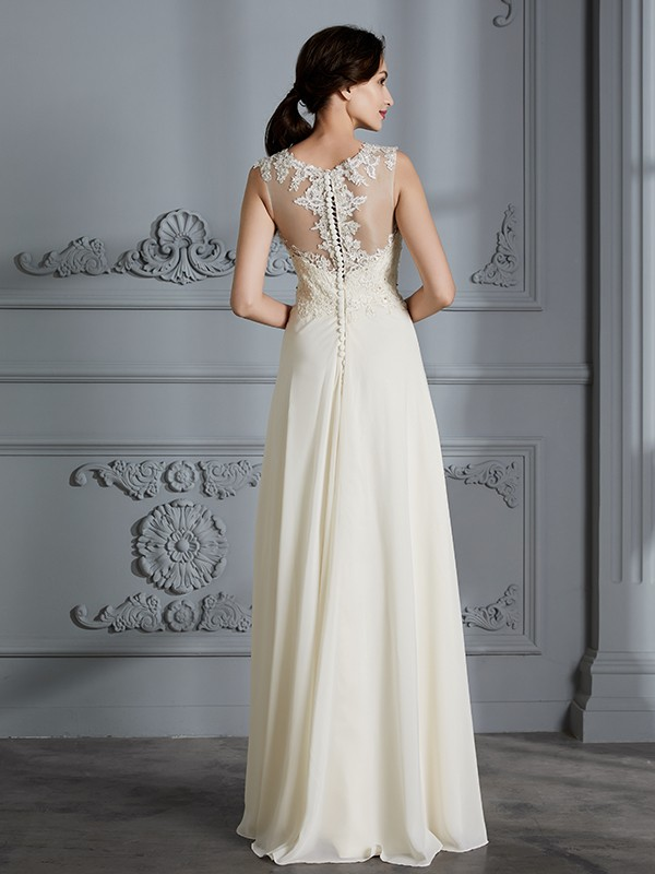 Fancy A-Line Scoop Chiffon Sleeveless Floor-Length Wedding Dress