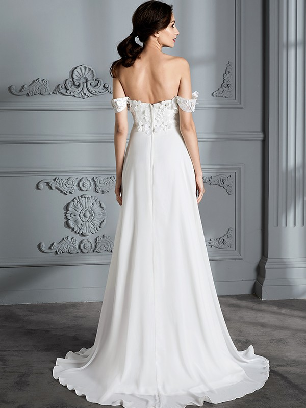 Fancy A-Line Off-the-Shoulder Sleeveless Chiffon Floor-Length Wedding Dress