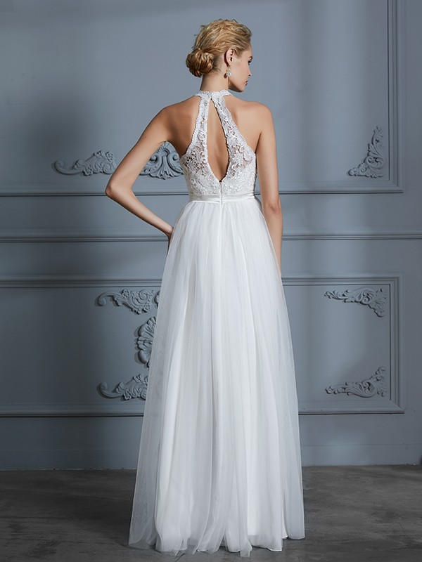 Unique A-Line Scoop Sleeveless Tulle Floor-Length Wedding Dress