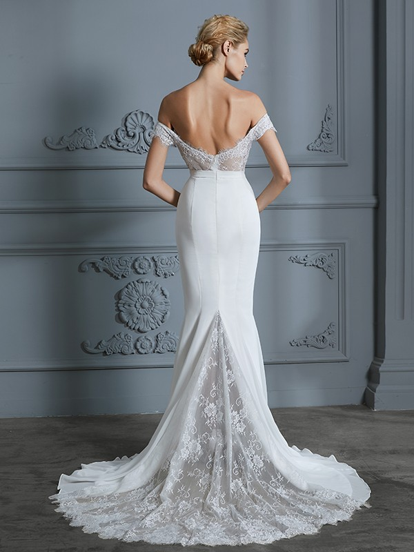 Unique Mermaid Off-the-Shoulder Sleeveless Lace Chiffon Sweep/Brush Train Wedding Dress