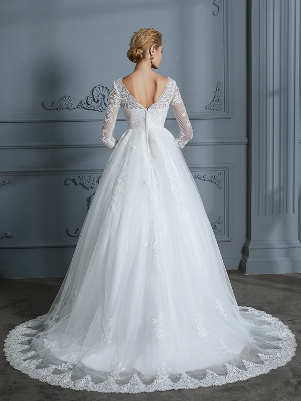 Unique Ball Gown V-neck 3/4 Sleeves Court Train Lace Tulle Wedding Dress