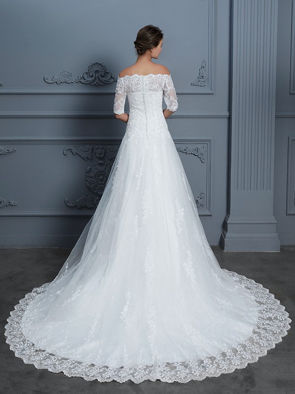 Nice Ball Gown Off-the-Shoulder 1/2 Sleeves Court Train Lace Wedding Dress