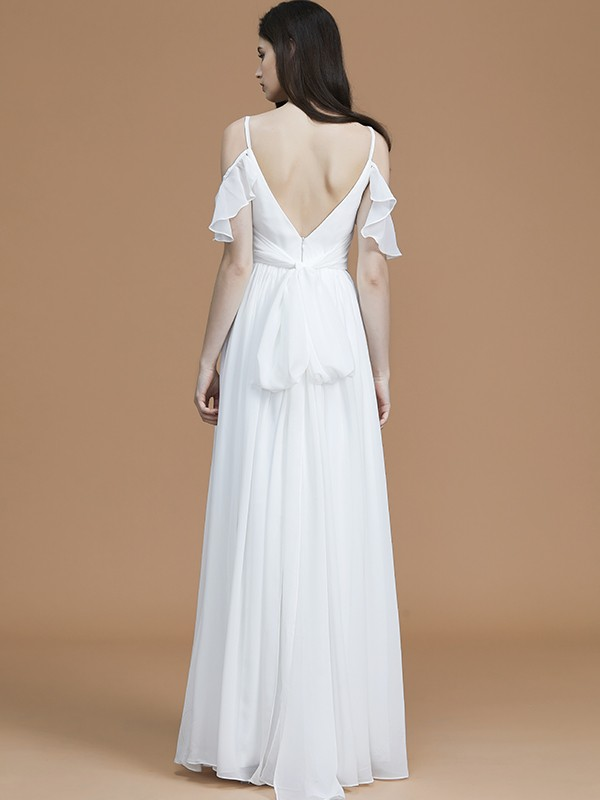 Glamorous A-Line Spaghetti Straps Sleeveless Floor-Length Chiffon Bridesmaid Dress