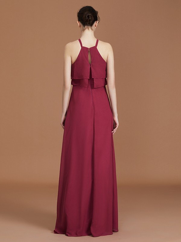 Glamorous A-Line Scoop Sleeveless Floor-Length Chiffon Bridesmaid Dress