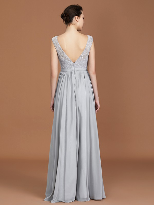 Chic A-Line V-neck Sleeveless Floor-Length Chiffon Bridesmaid Dress