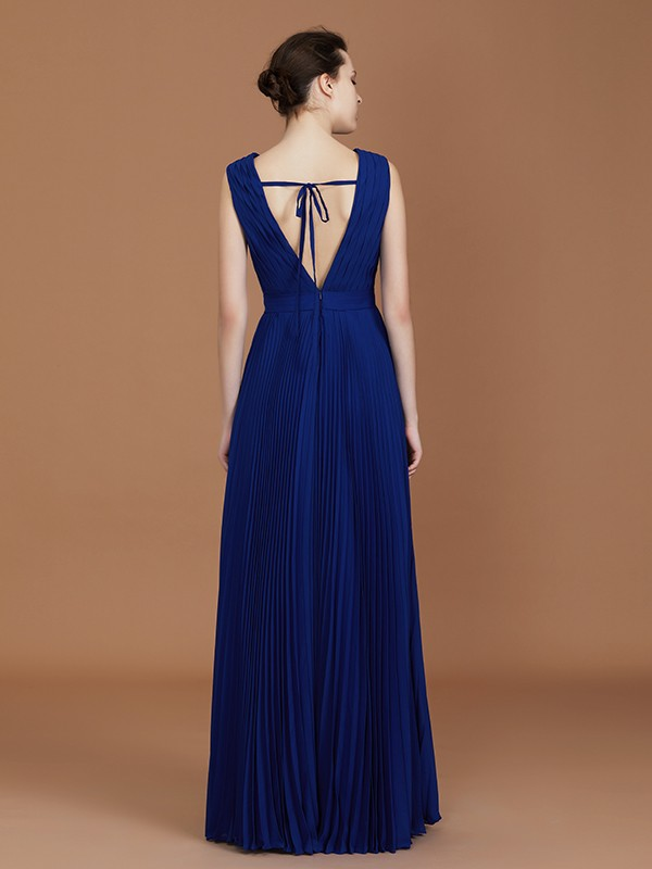 Exquisite A-Line V-neck Sleeveless Floor-Length Chiffon Bridesmaid Dress