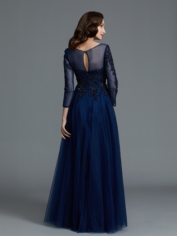 Gorgeous A-Line Long Sleeves Scoop Floor-Length Tulle Mother of the Bride Dress