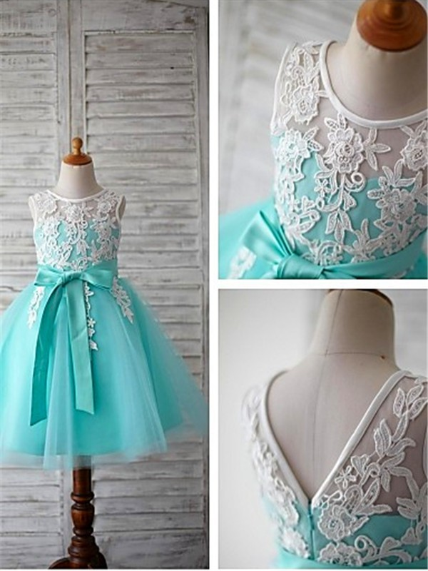 Discount Ball Gown Scoop Sleeveless Knee-Length Tulle Flower Girl Dress