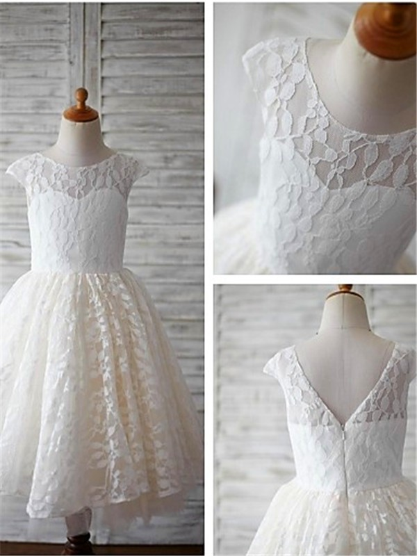 Glamorous A-line Scoop Short Sleeves Tea-length Lace Flower Girl Dress