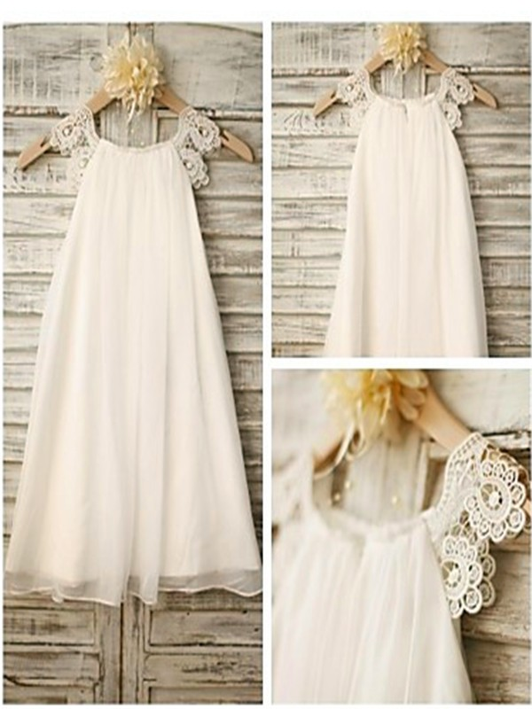 Nice A-line Scoop Sleeveless Lace Tea-Length Chiffon Flower Girl Dress