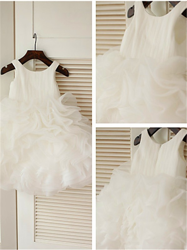 Cheap Ball Gown Scoop Layers Knee-Length Organza Flower Girl Dress