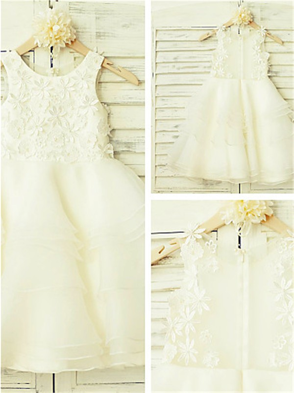 Elegant A-line Scoop Sleeveless Lace Tea-length Tulle Flower Girl Dress