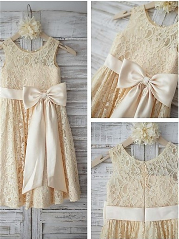 Perfect A-line Sleeveless Scoop Knee-Length Lace Flower Girl Dress