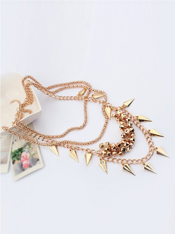 Stylish Occident Hyperbolic Stylish Street shooting style Button screw Metallic Multi-layered Necklace
