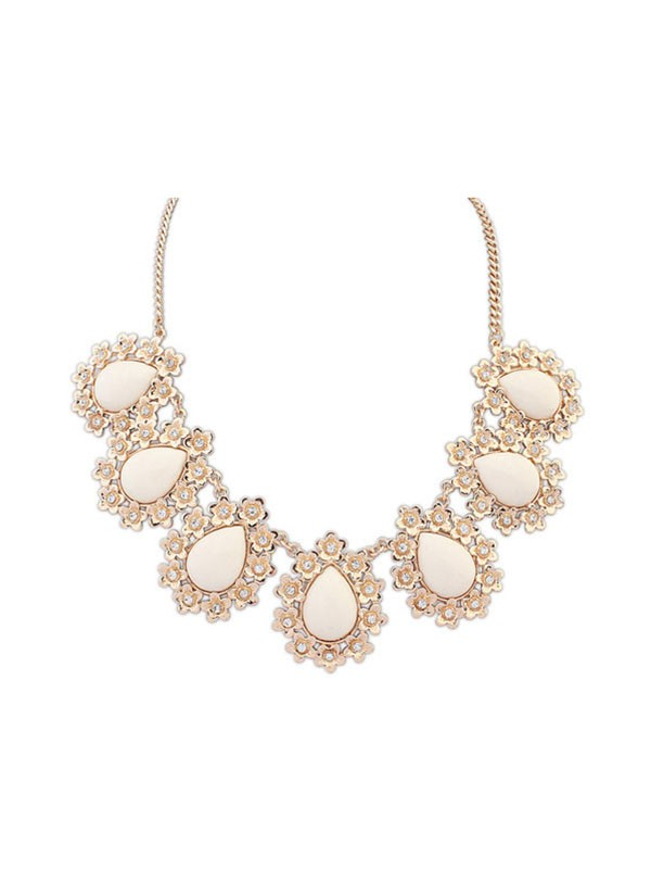 Gorgeous Occident All-match Floret Water Drop Temperament Necklace