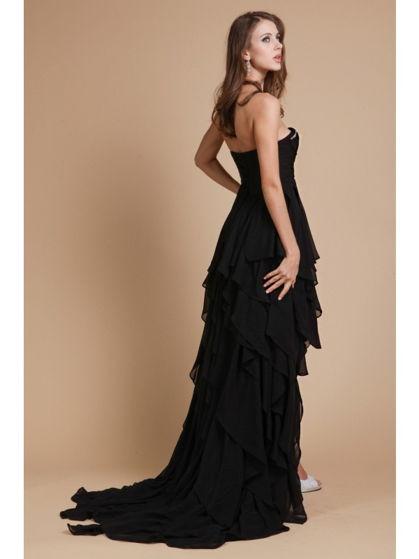 Modest A-Line Sweetheart Sleeveless Chiffon Dress