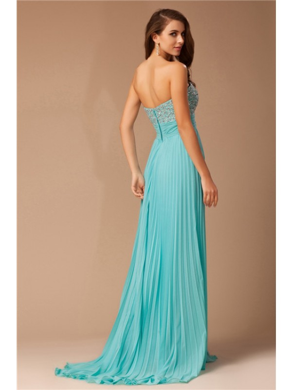 Modest Empire Sweetheart Long Chiffon Sleeveless Dress