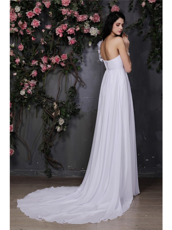 Beautiful A-Line One-Shoulder Sleeveless Long Chiffon Wedding Dress