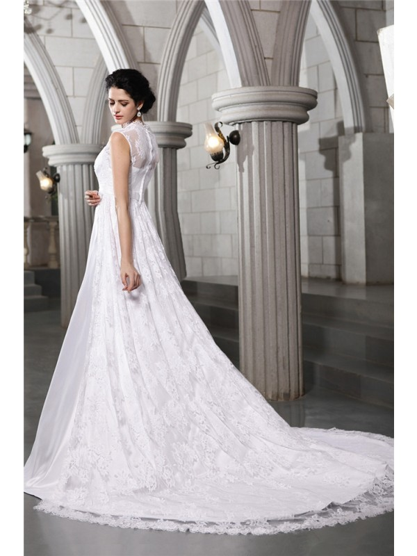 Beautiful A-Line Sleeveless Lace Long Satin Wedding Dress