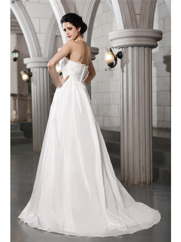 Beautiful A-Line Strapless Sleeveless Long Taffeta Wedding Dress