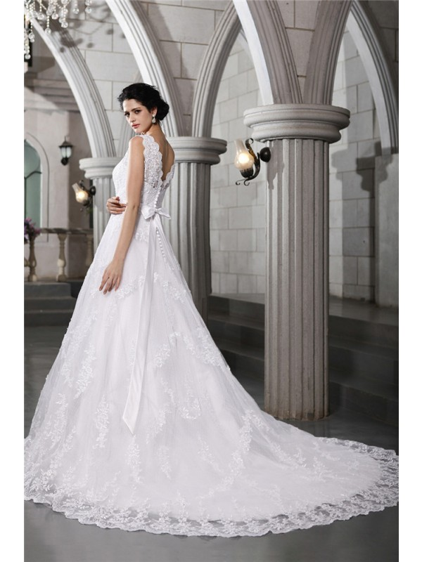 Beautiful A-Line V-neck Sleeveless Long Organza Wedding Dress
