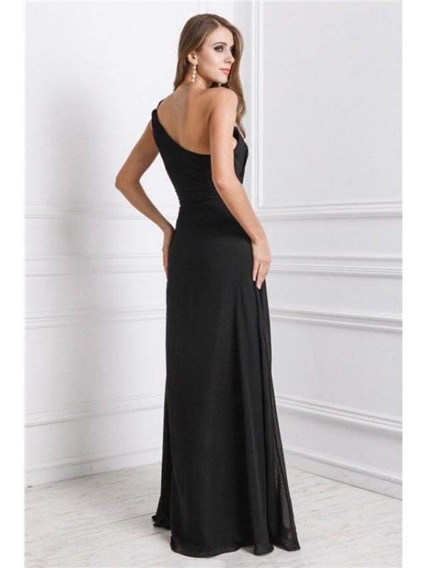 Modest Sheath One Shoulder Sleeveless Long Dress