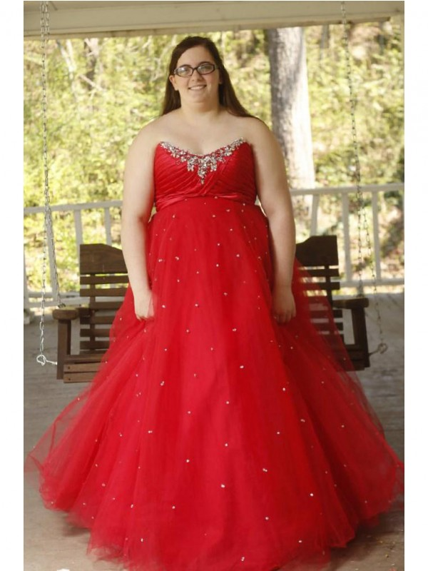 Charming Ball Gown Sweetheart Sleeveless Floor-Length Organza Plus Size Dress