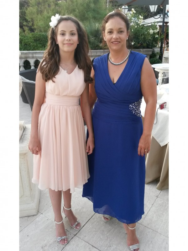Classical A-Line V-neck Sleeveless Ankle-Length Satin Chiffon Mother Of The Bride Dress