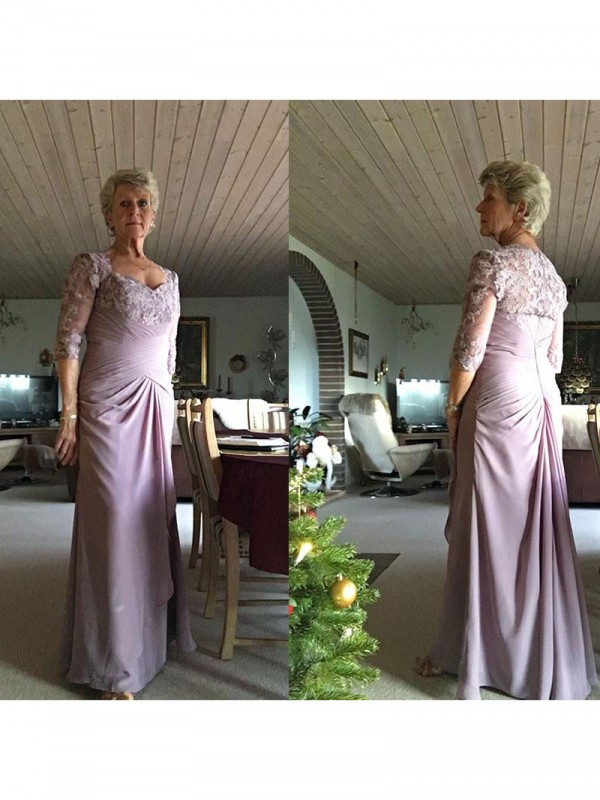 Classical Sheath Sweetheart 1/2 Sleeves Floor-Length Chiffon Mother Of The Bride Dress