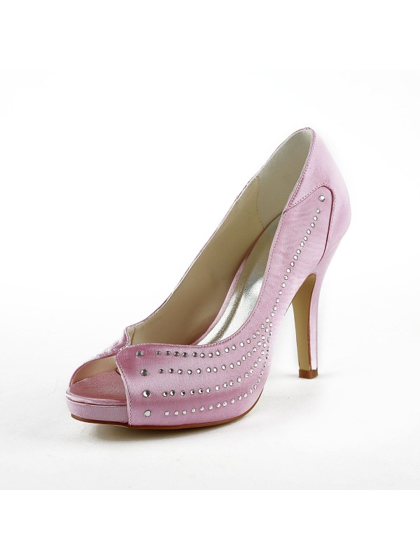 Fashion Women Satin Stiletto Heel Peep Toe Platform Pink Wedding Shoes