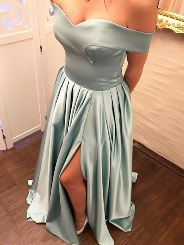 Gorgeous A-Line Off-the-Shoulder Sleeveless Sweep/Brush Train Satin Dress