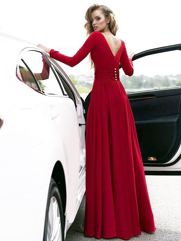 Gorgeous A-Line V-neck Floor-Length Satin Long Sleeves Dress