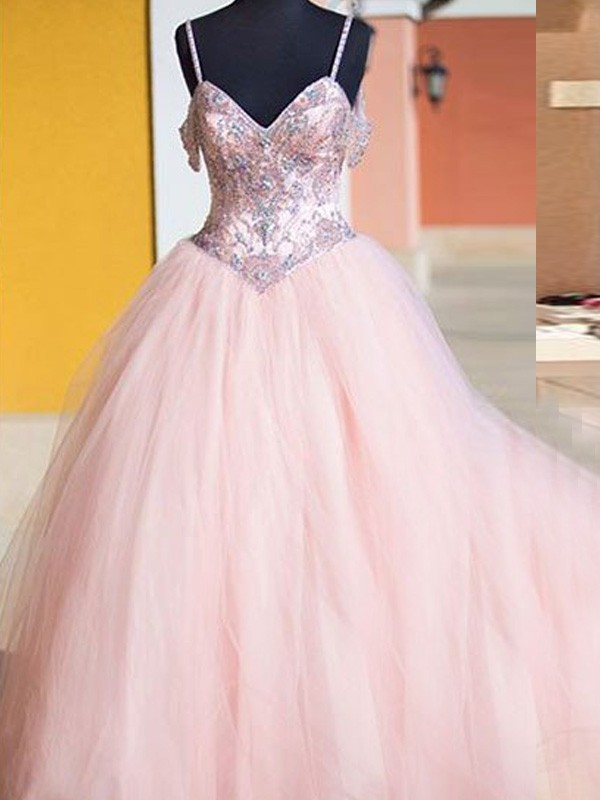 Stunning Ball Gown Sleeveless Spaghetti Straps Tulle Floor-Length Dress