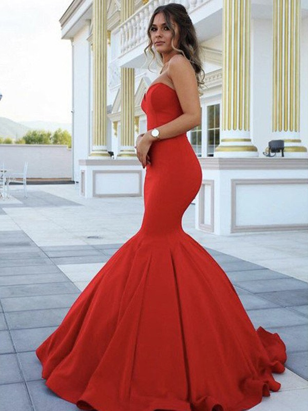 Stunning Mermaid Sweetheart Sleeveless Sweep/Brush Train Satin Dress